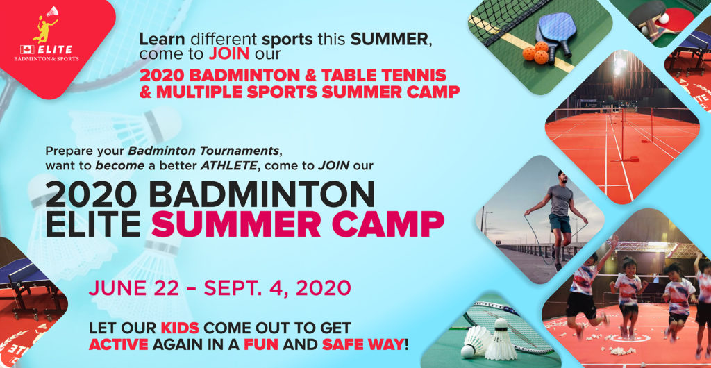 Badmintion and Table Tennis summer camp banner